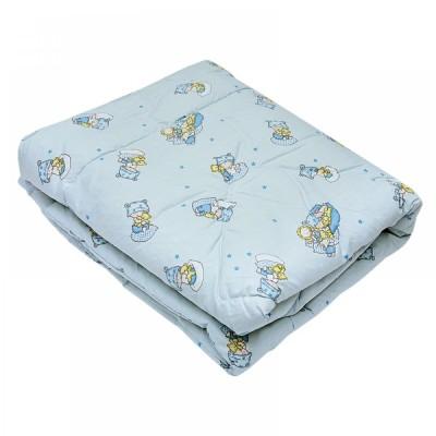 Одеяло детское стеганое силиконовое Ярослав (бязь) 105х140 голубое
