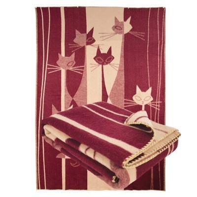 Одеяло из шерсти мериноса Ярослав 140х205 диз.4 Коты бордовый