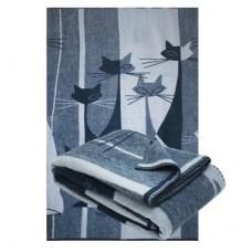Одеяло из шерсти мериноса Ярослав 140х205 диз.4 Коты синий