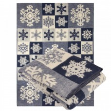 Новогоднее  Одеяло из шерсти мериноса Ярослав 140х205 диз.2 Снежинки